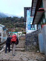 On the ground in Lukla. Dawa there to meet us